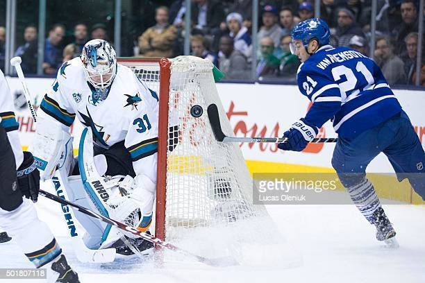 Toronto's James van Riemsdyk tries to go high glove side on San Jose net minder Martin Jones in first period action The Toronto Maple Leafs hosted...