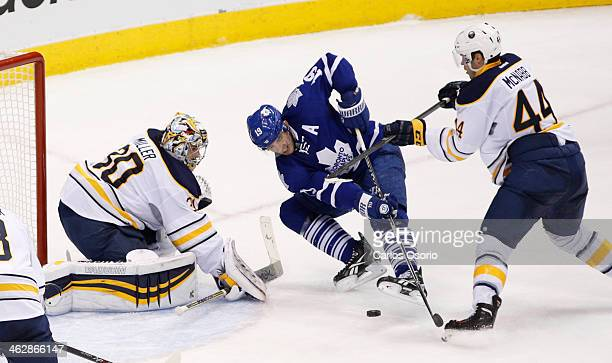 TORONTO ON JANUARY 15 Toronto's Joffrey Lupul has a scoring chance on Buffalo goalie Ryan Miller while being hit by Brayden McNabb in the overtime...
