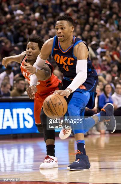 Toronto's Kyle Lowry chases down a breaking Russel Westbrook in fourth quarter action The Toronto Raptors hosted the Oklahoma City Thunder a the Air...