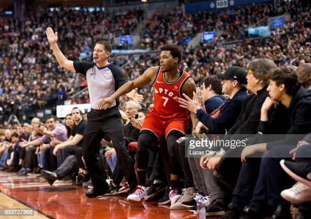 Toronto's Kyle Lowry falls into the crowd after missing a shot in the first half The Toronto Raptors hosted the Oklahoma City Thunder a the Air...