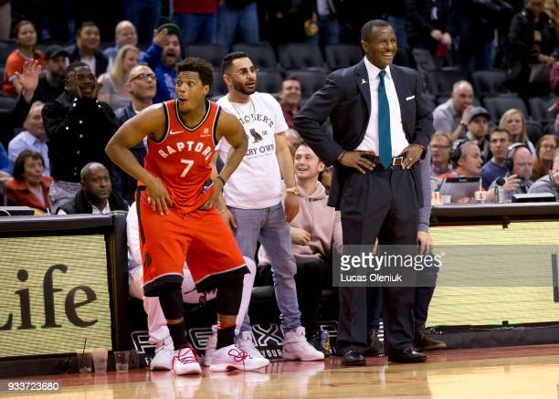Toronto's Kyle Lowry reacted after Toronto coach Dwayne Casey was ejected from the game late in the fourth quarter in a raucous ending involving a...