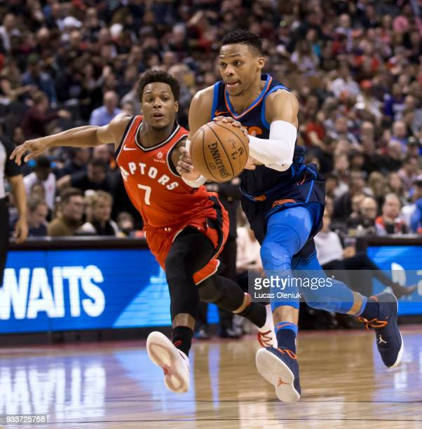 Toronto's Kyle Lowry tries to catch up to a breaking Russel Westbrook in fourth quarter action The Toronto Raptors hosted the Oklahoma City Thunder a...