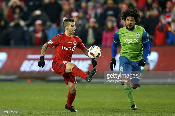 Toronto's Sebastian Giovinco and Seattle's Roman Torres Toronto FC hosted Seattle Sounders FC in MLS Cup 2016 on December 10 at BMO Field in Toronto...