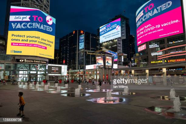 Toronto's Yonge and Dundas Square, usually one of Canada's busiest places, is seen nearly empty during lockdown on June 7, 2021 in Toronto, Canada....