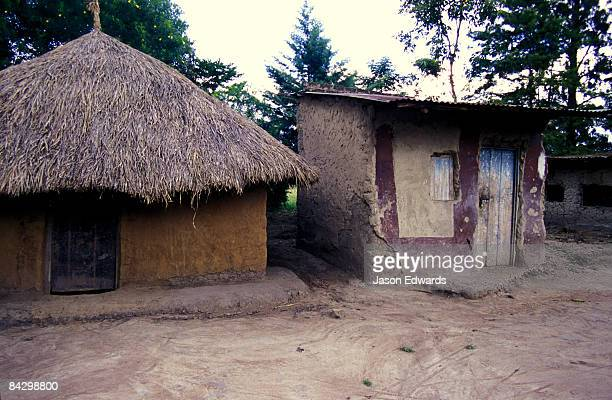 A thatched hut and a tool shed in a small African village.