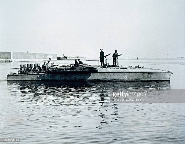 Torpedo armed motorboat or anti submarine motorboat known as Mas Orlando shipyard Leghorn 1917 World War I Italy 20th century