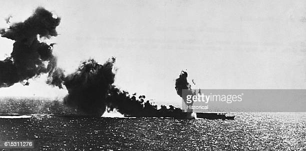 Torpedo explosions consume the burning Japanese aircraft carrier Shoho on May 7 during the Battle of the Coral Sea The carrier was sunk