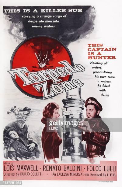 Torpedo Zone, poster, , US poster art, from left: Lois Maxwell, Renato Baldini, 1955.