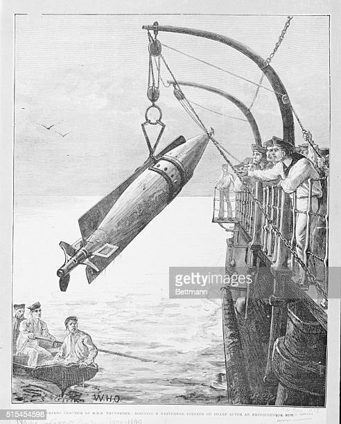 Torpedo practice on an English Warship Hoisting a white head torpedo on board after an experimental run 1878