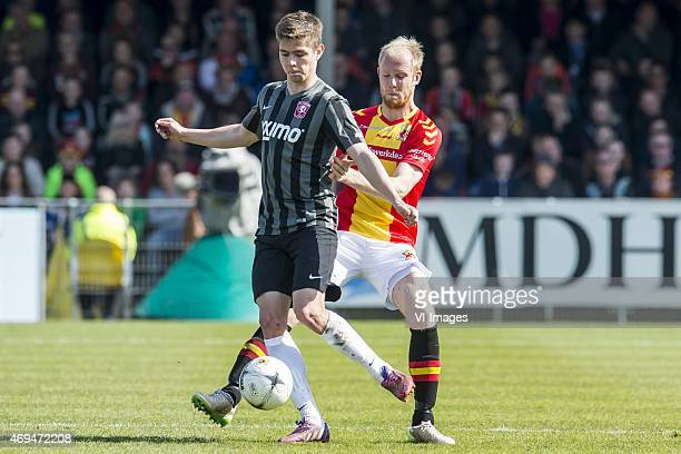 Torqeir Borven of FC Twente Jop van der Linden of Go Ahead Eagles during the Dutch Eredivisie match between Go Ahead Eagles and FC Twente at The...