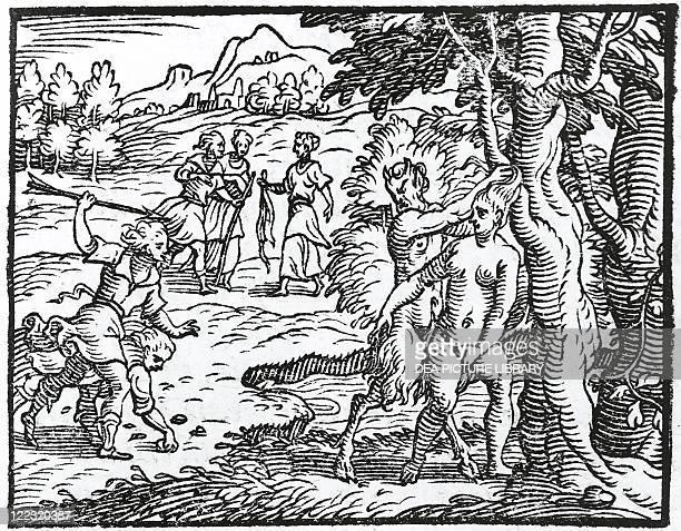 Torquato Tasso Aminta 1573 Satyr trying to rape Silvia act III Engraving Aldina edition 1583