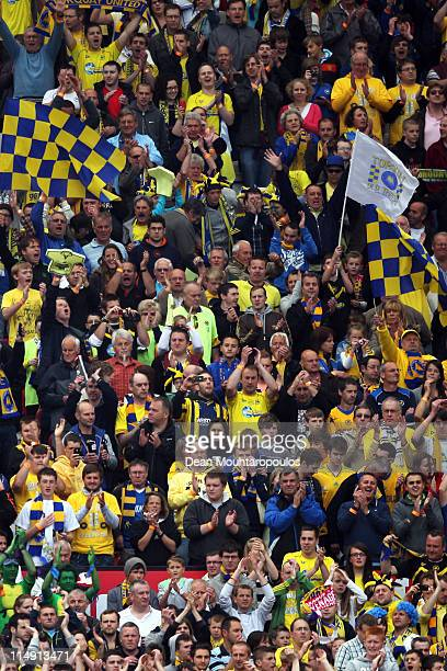 Torquay fans cheer during the npower League Two Playoff Final between Stevenage and Torquay United at Old Trafford on May 28 2011 in Manchester...