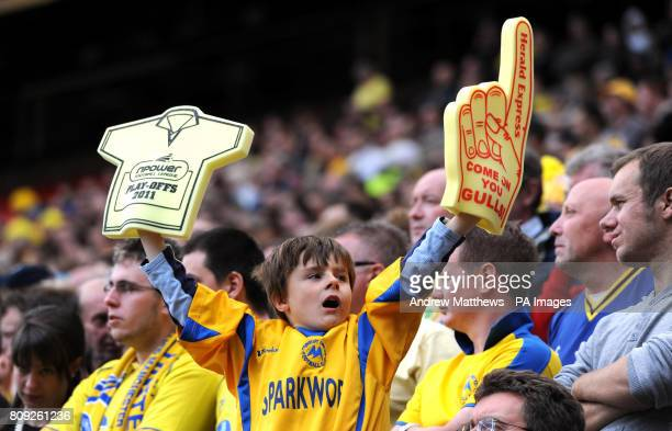 Torquay fans in the stands during the npower League Two PlayOff Final at Old Trafford Manchester