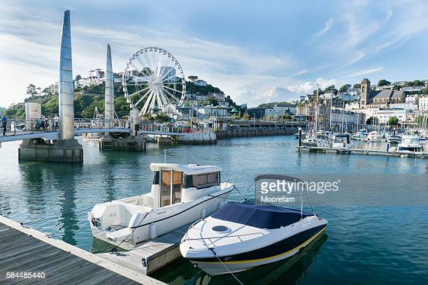 torquay harbour on a sunny summers day with moored boats - torquay,_victoria stock pictures, royalty-free photos & images