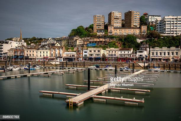 Torquay old town harbour and apartment blocks