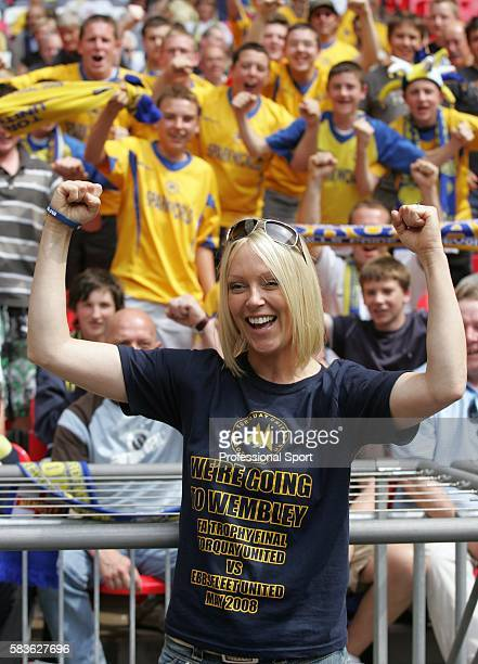 Torquay supporter and Soccer AM Presenter Helen Chamberlain during the FA Trophy Final match between Ebbsfleet United and Torquay United at Wembley...