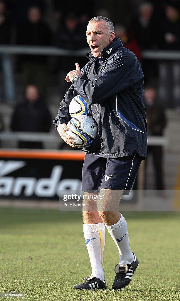 Torquay United asssisant manager Shaun Taylor shouts instructions during the pre match warm up prior to the npower League Two match between Torquay United and Northampton Town at Plainmoor on January 28, 2012 in Torquay, England.