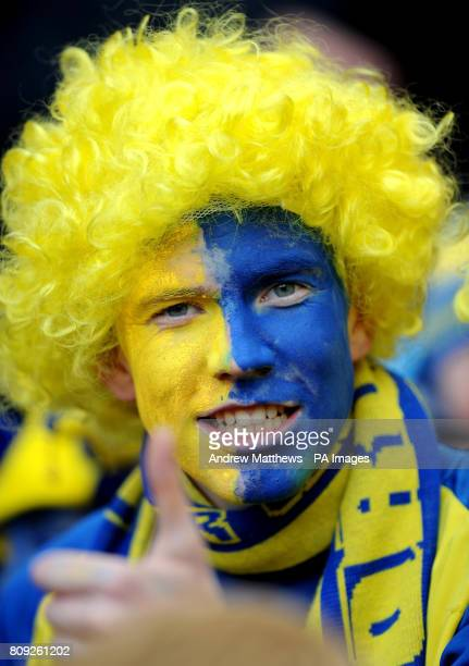 A Torquay United fan shows his support before kick off during the npower League Two PlayOff Final at Old Trafford Manchester
