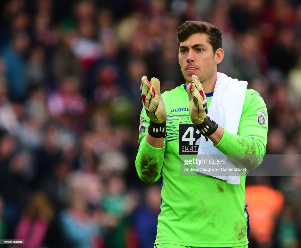 Torquay United's Brendan Moore during the Vanarama National League match between Lincoln City and Torquay United at Sincil Bank Stadium on April 14, 2017 in Lincoln, England.