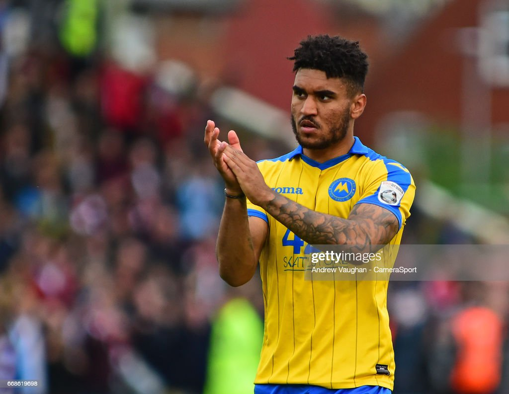 Torquay United's Jamie Reid during the Vanarama National League match between Lincoln City and Torquay United at Sincil Bank Stadium on April 14, 2017 in Lincoln, England.