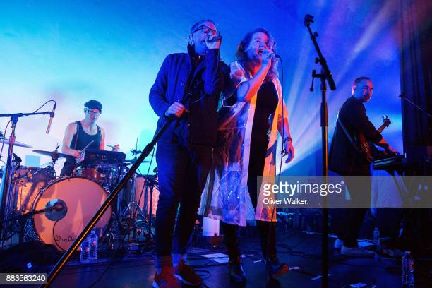 Torquil Campbell and Amy Millan of Stars perform at Hollywood Forever on November 30 2017 in Hollywood California