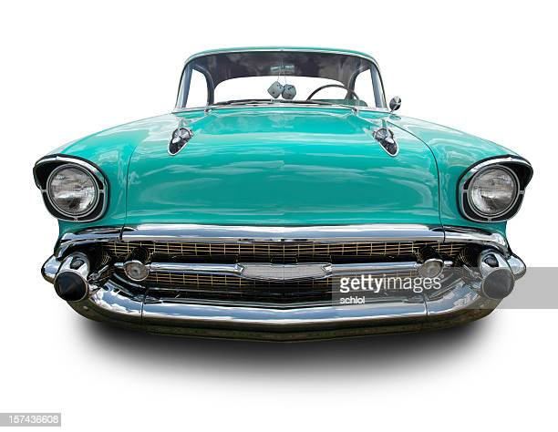 torquoise 1957 chevy - hot rod car stock photos and pictures