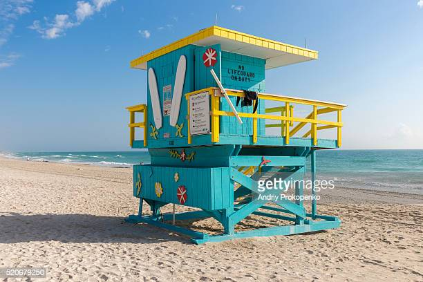 Torquoise Lifeguard Tower in South Miami Beach, Florida