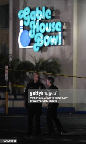 Torrance police officers investigate a shooting at the Gable House Bowl in Torrance on Saturday Jan 5 2019 Early reports are that three people have...