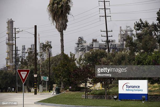 Torrance Refining Co signage is displayed outside of the oil refinery in Torrance California US on Friday July 1 2016 Exxon Mobil Corp completed the...