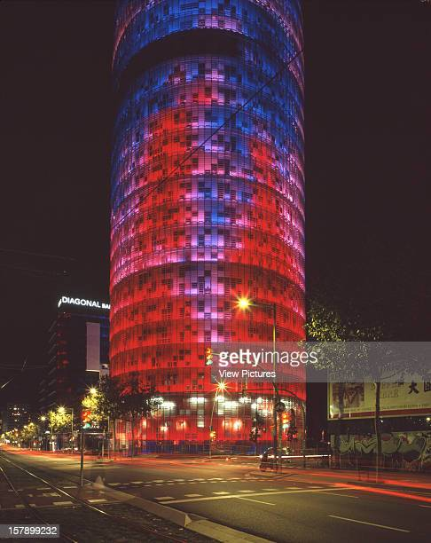 Torre Agbar Barcelona Spain Architect Jean Nouvel Torre Agbar Night Shot Of Part Of The Tower At Night