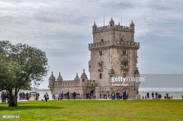 Torre de Belem is a fortified tower , by river Tagus in Lisbon, Portugal.