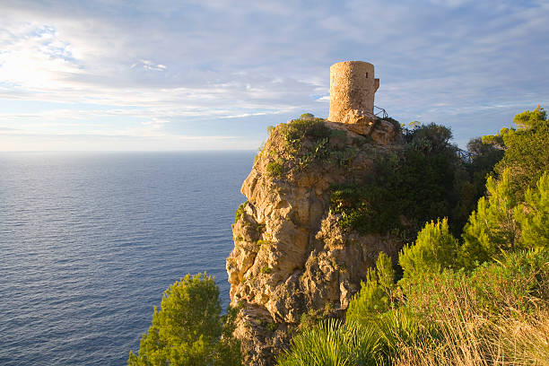 Torre de Ses Animes, also known as the Torre des Verger, a 16th century watchtower overlooking the Mediterranean near Banyalbufar.