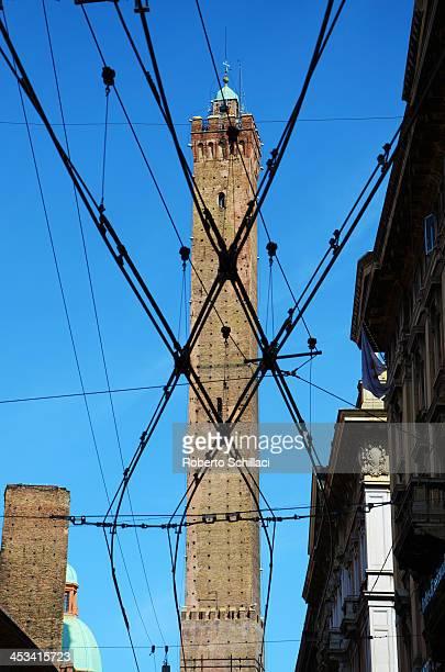 CONTENT] Torre degli Asinelli against tram line Bologna