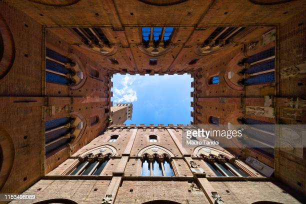 torre del mangia seen from courtyard of palazzo pubblico, siena, province of siena, tuscany, italy - mauro tandoi stock photos and pictures