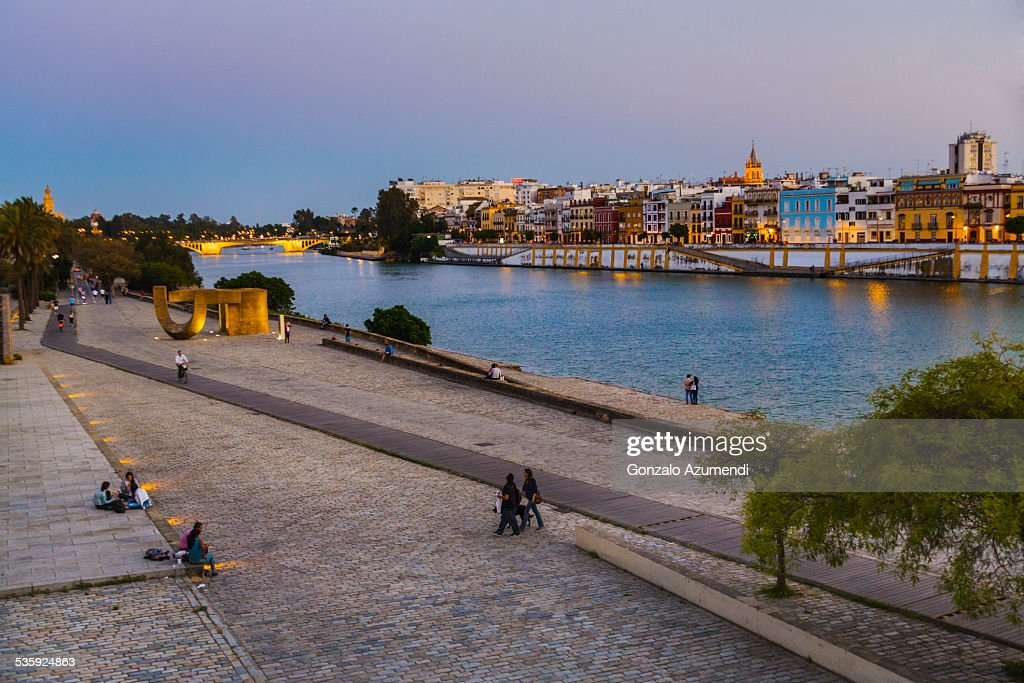 Torre del Oro and Guadalquivir river in Seville. : Stock Photo