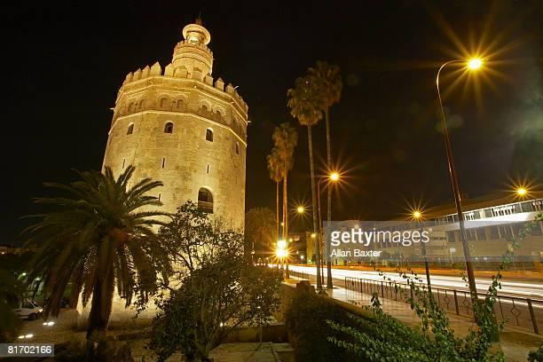 Torre del Oro at night