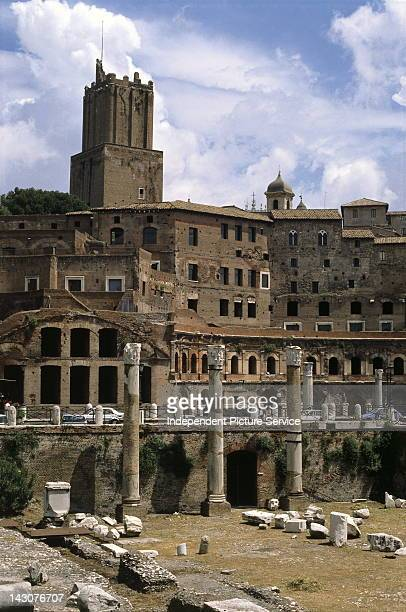 Torre delle Milizie above the terraced arcades of Trajan's Forum built on the side of Quirinal Hill Rome