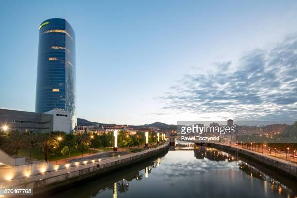 Torre Iberdrola at twilight (165m), highest skyscraper in Bilbao, Spain