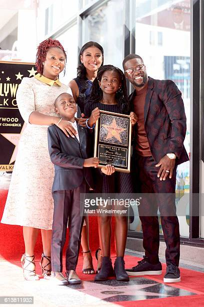Torrei Hart Hendrix Hart Eniko Parrish Heaven Hart and honoree Kevin Hart pose for a photo as Kevin Hart is honored with a star on the Hollywood Walk...