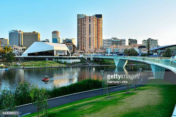 torrens lake and the adelaide festival centre, ade - adelaide festival stock pictures, royalty-free photos & images