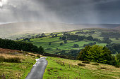 Torrential downpour on the hills of Swaledale, Yorkshire Dales, England