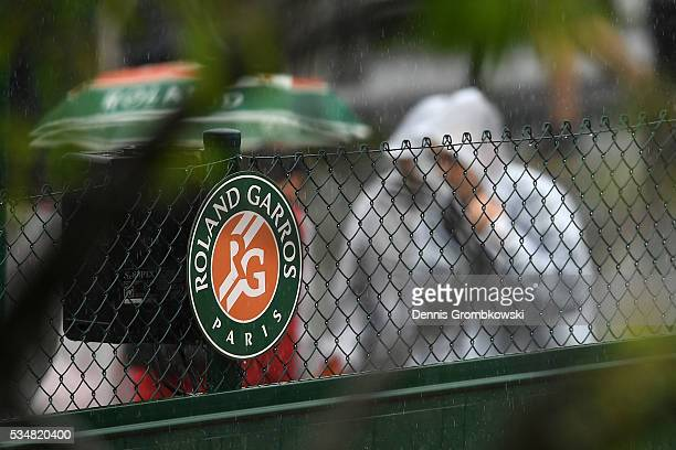 Torrential rain stops play day seven of the 2016 French Open at Roland Garros on May 28 2016 in Paris France