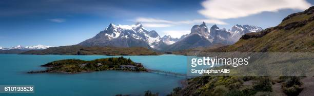 Torres del paine and lake view panorama