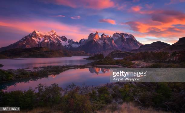 torres del paine , chile. - patagonia chile stock photos and pictures