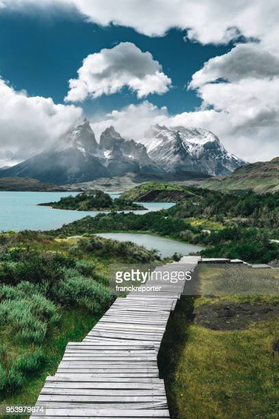 torres del paine landscape - patagonia chile stock photos and pictures