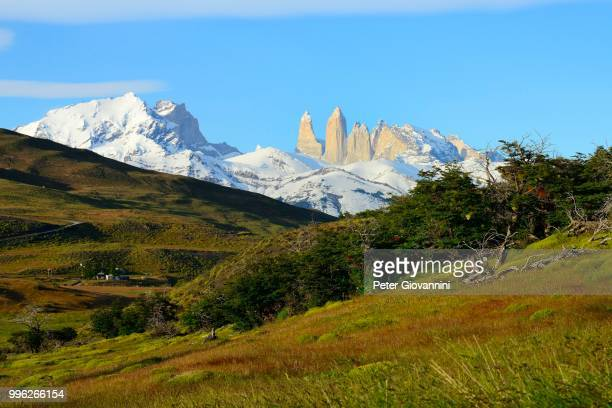 Torres del Paine massif in the morning light, Torres del Paine National Park, Ultima Esperanza Province, Chile