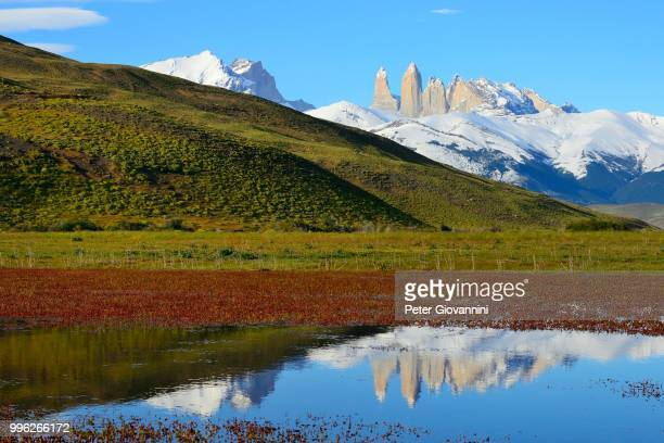 Torres del Paine massif reflected in the water, Torres del Paine National Park, Ultima Esperanza Province, Chile