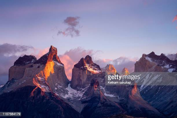 torres del paine mountain range in the morning, patagonia, chile. - patagonia foto e immagini stock