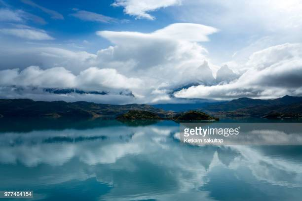 Torres del paine mountain range with reflection lake, patagonia, Chile.