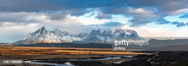 torres del paine national park - snowcapped mountain stock pictures, royalty-free photos & images
